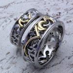 結婚指輪 唐草コンビリング